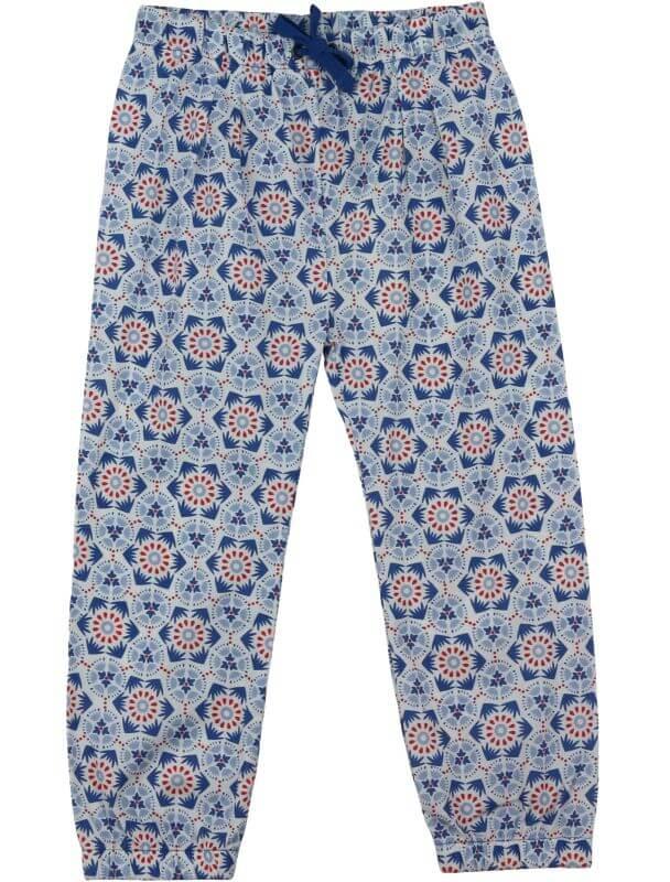 Leichte Mädchen-Hose Mosaik blue/white