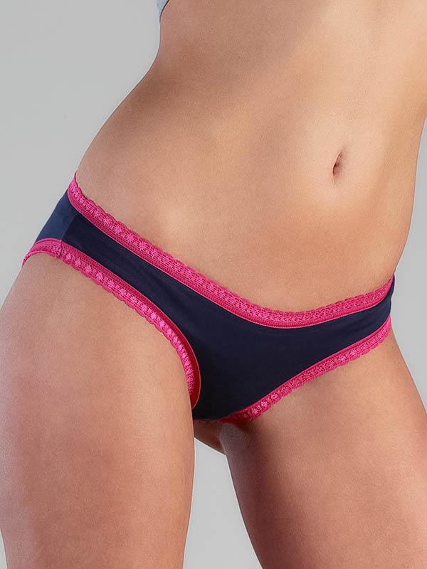 Damen-Slip mit Spitze blau-rosa