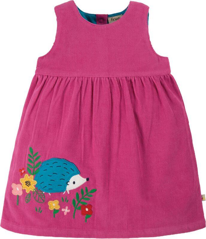 Süßes Cord-Kleidchen mit Igel in Pink