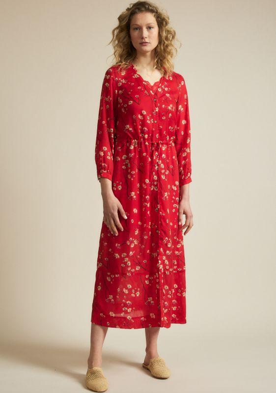 Gemustertes Midi-Kleid moonflower red