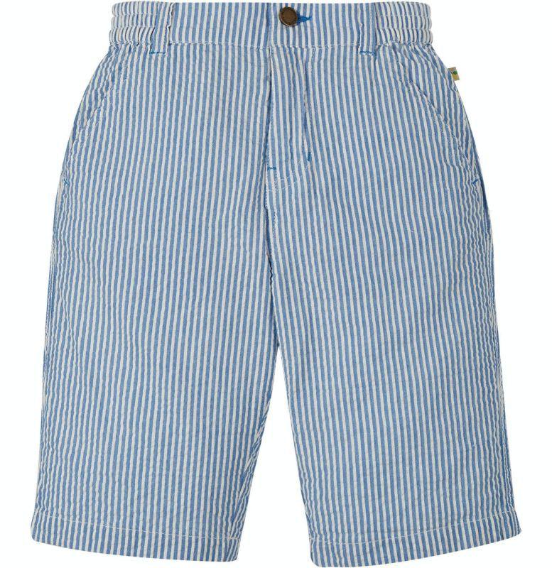 Blau gestreifte Seersucker Shorts für Jungs