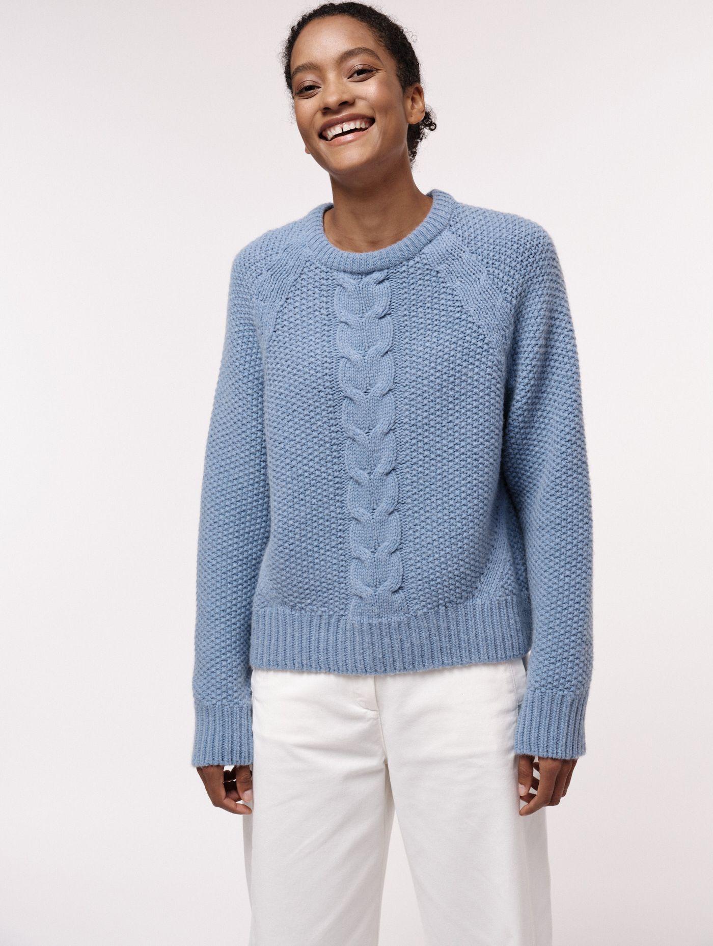 Damen-Pullover mit Zopfmuster fog melange mit Wolle