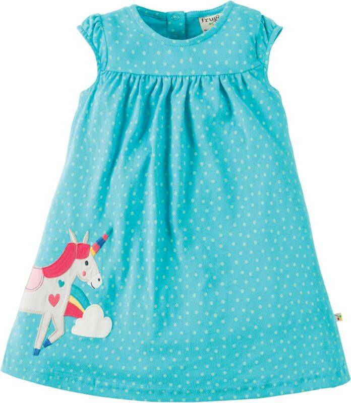 Hellblau gepunktetes Baby-Kleidchen mit Einhorn