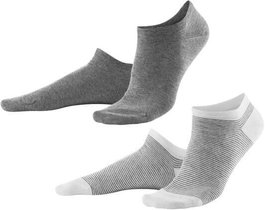 Grau gemusterte Sneaker-Socken im Doppelpack