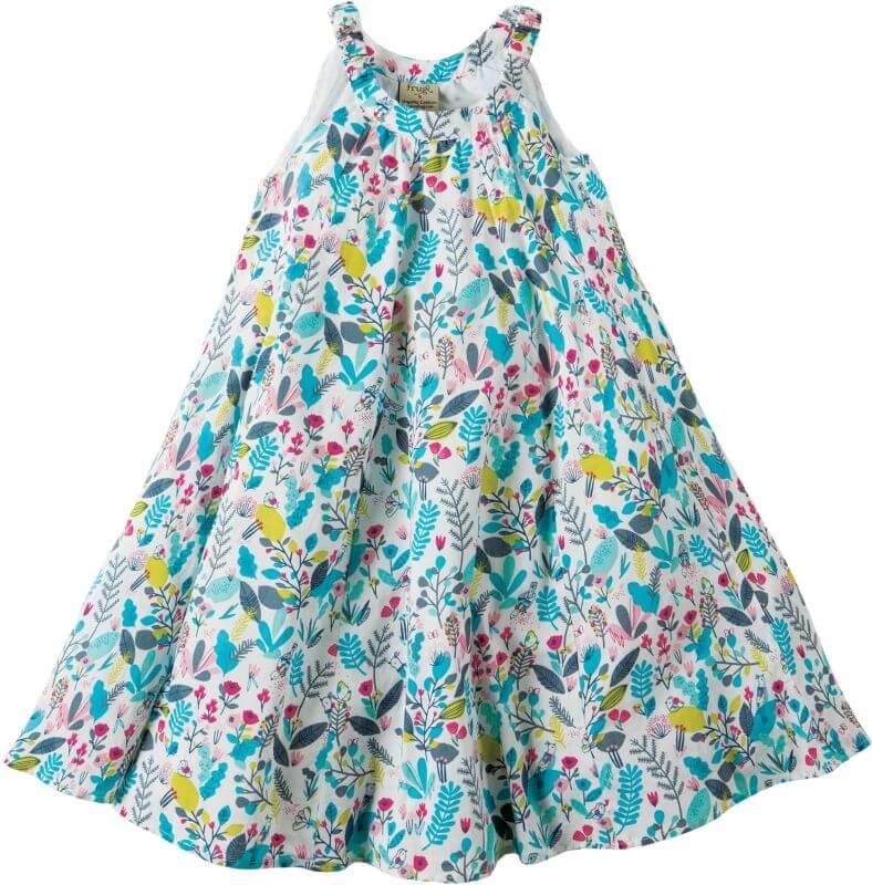 Luftiges Kleid mit buntem Pflanzen-Print