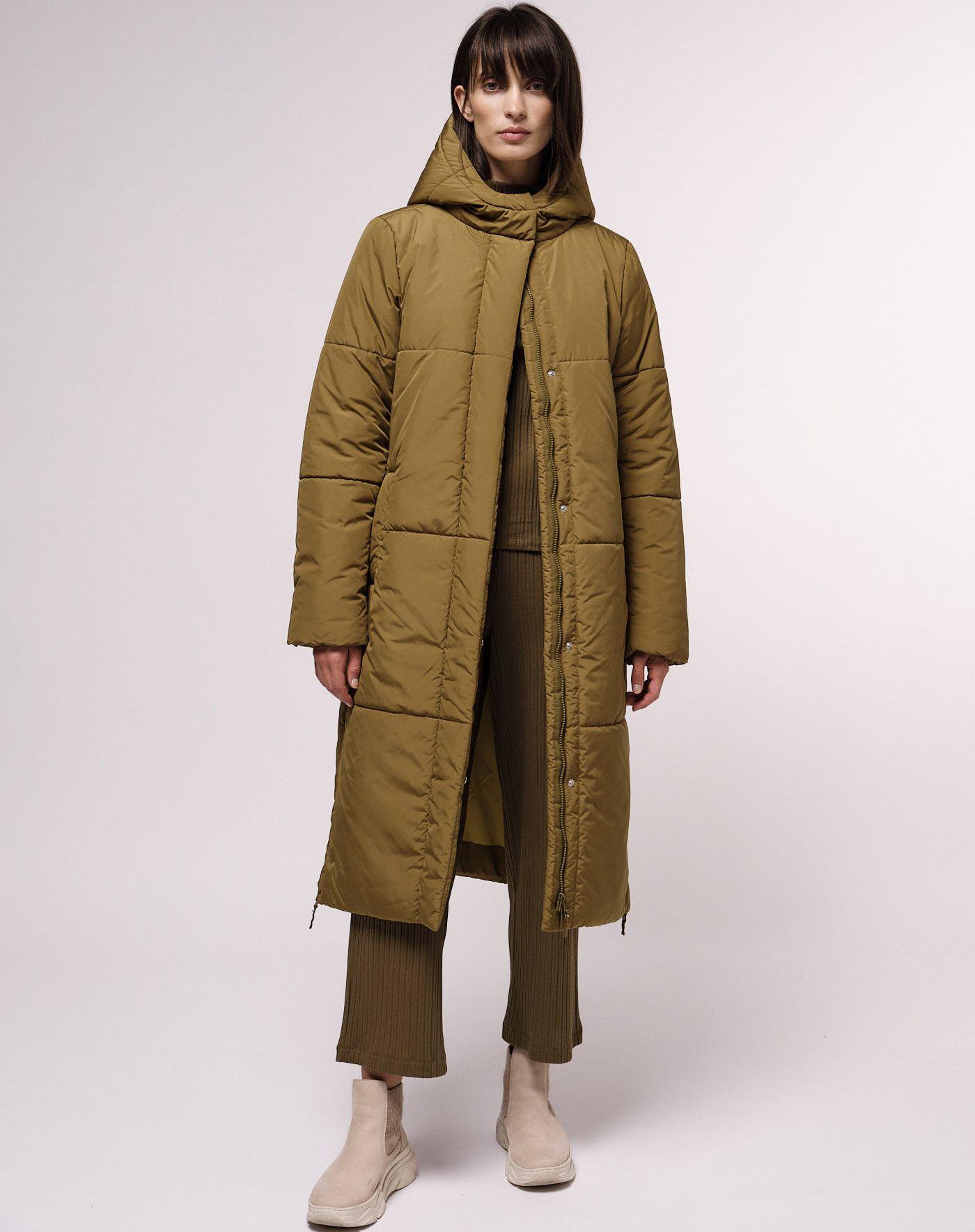 Wattierter Damen-Mantel dark green moss