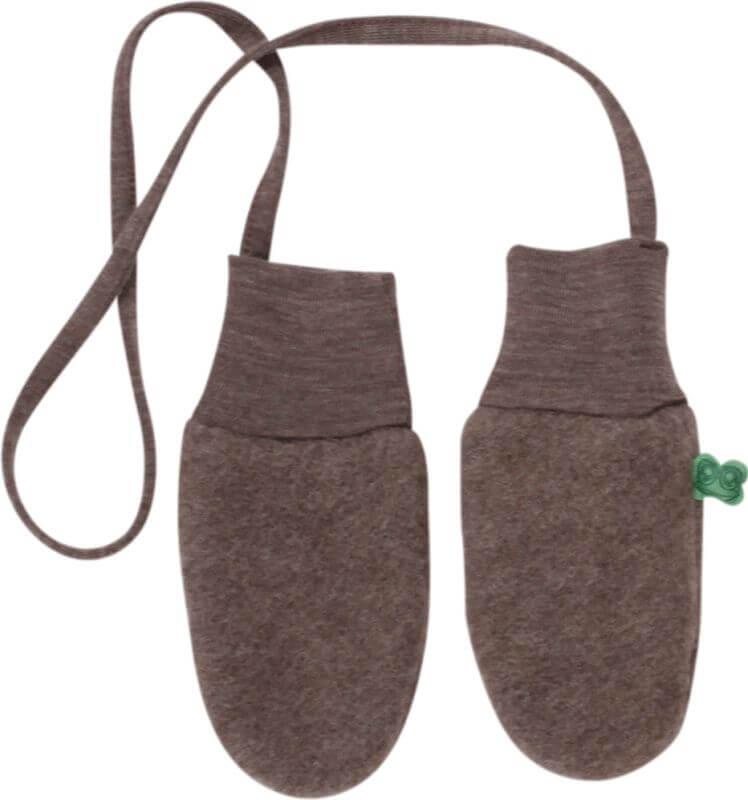 Braune Fleece-Fäustlinge (100% Wolle)