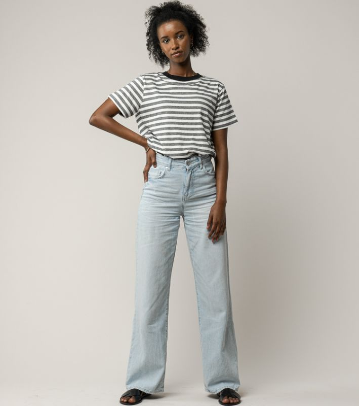 Gestreiftes Basic Damen-Shirt KHIRA thin stripes/black
