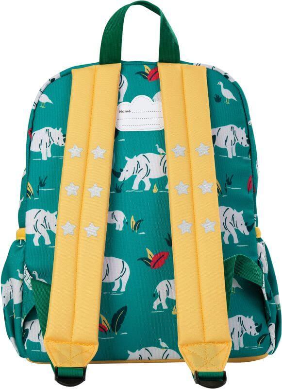 Cooler Kinder-Rucksack mit Nashörnern grün