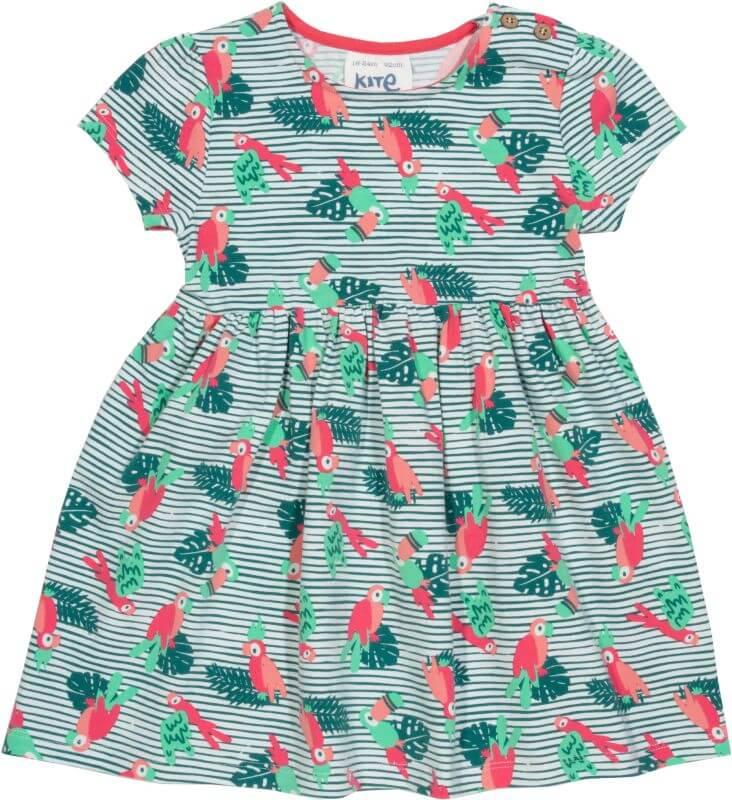 Gestreiftes Kleidchen mit Papageien-Print