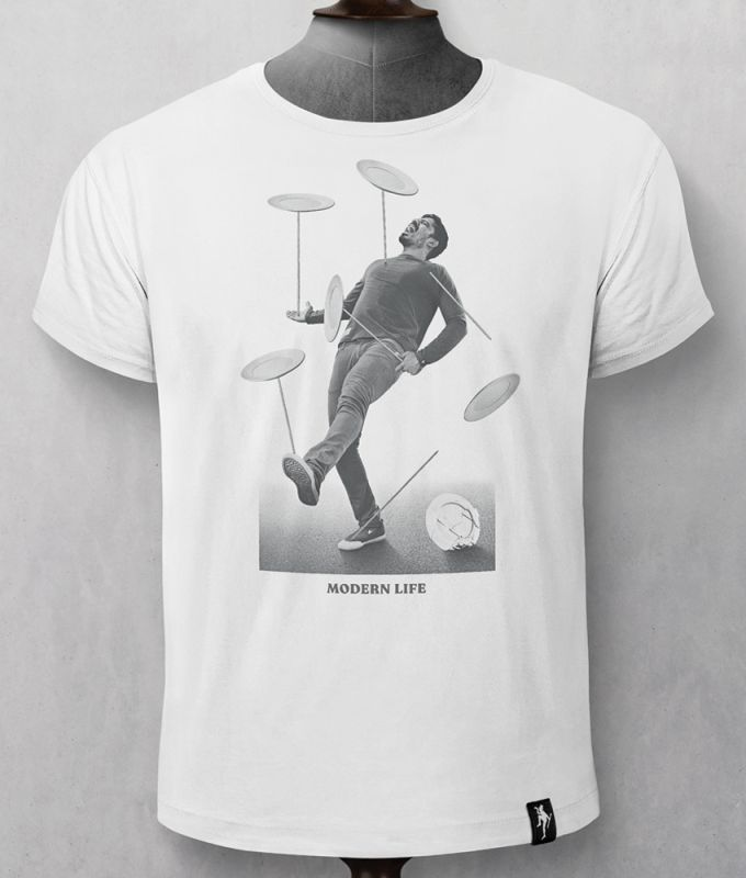 Herren-Shirt Spinning Plates Vintage White