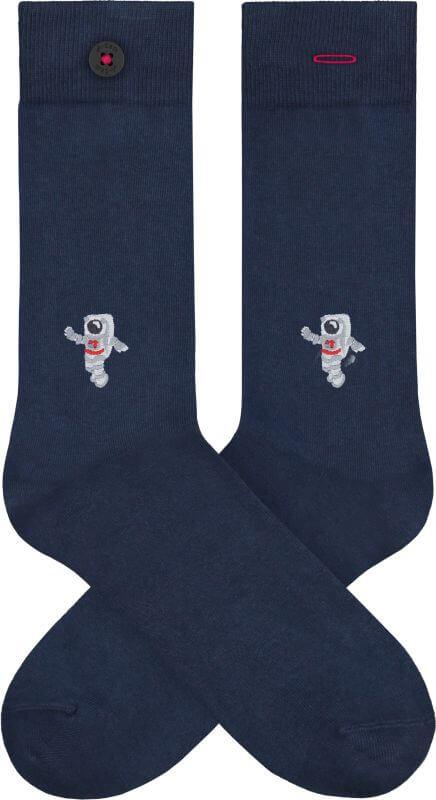 Dunkelblaue Socken mit Astronauten-Stickerei