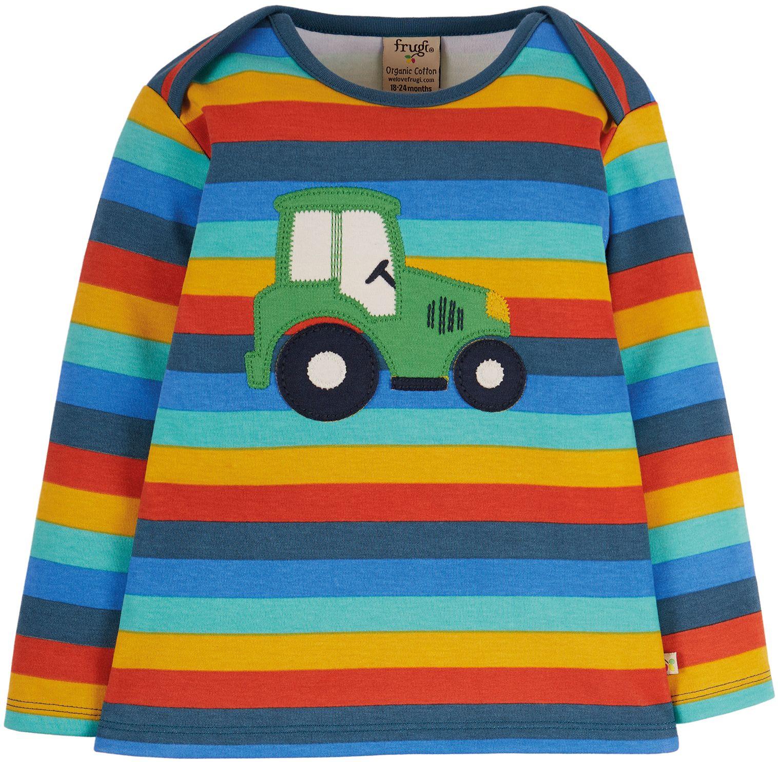 Gestreiftes Kinder-Longsleeve mit Traktor