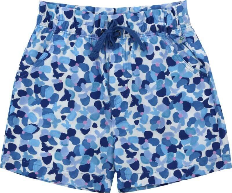 Hellblaue Mädchen-Shorts mit Pinselblumen-Druck