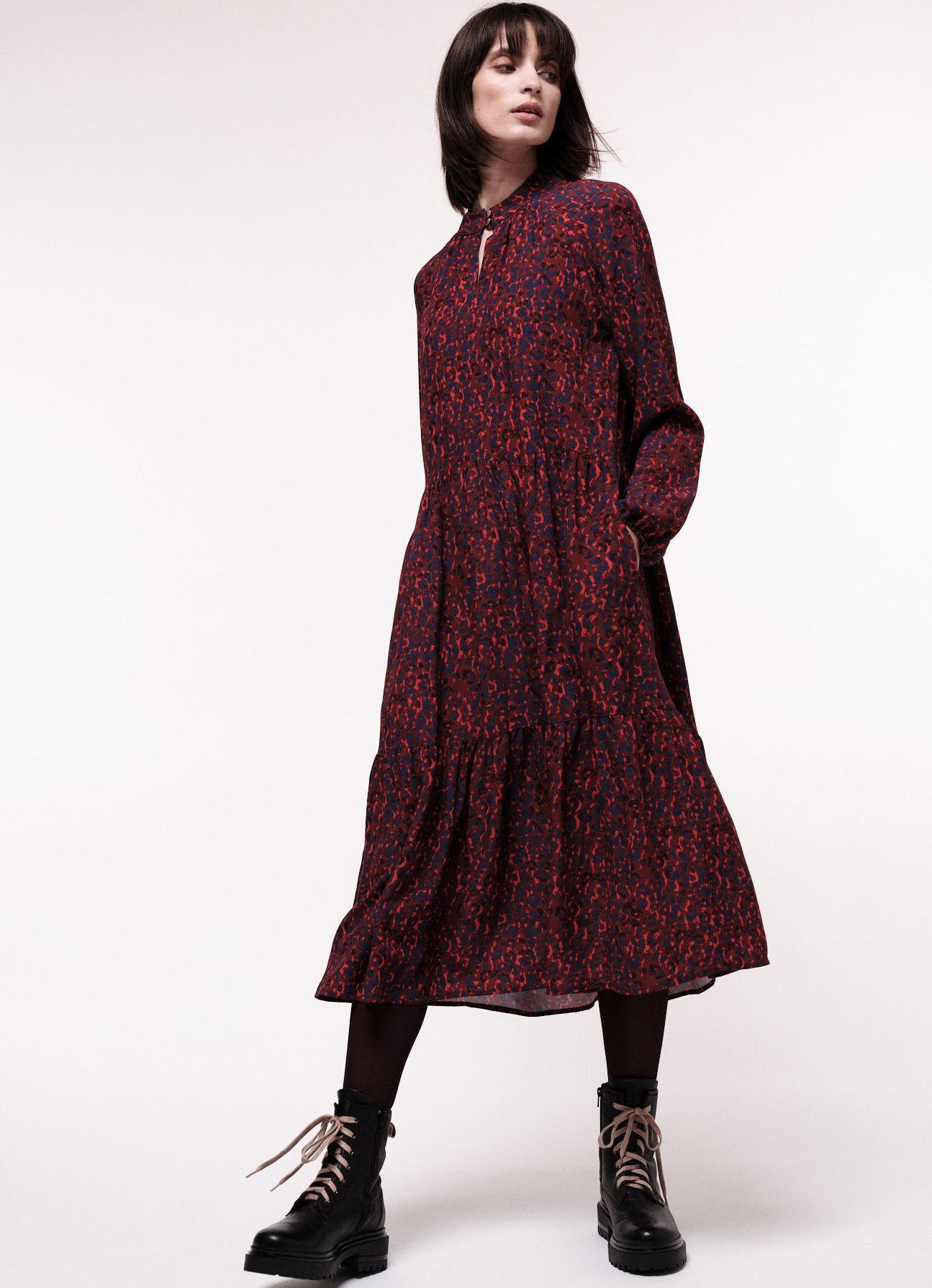 Gemustertes Maxikleid für Damen Print jungle folk - red plum
